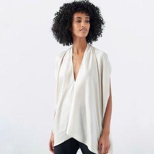 Zero + Maria Cornejo Lena Metallic Silk Drape Top